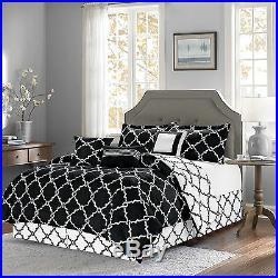 7-Piece Reversible Geometric Galaxy Comforter Set Oversized All Sizes Black