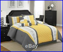 7 Pieces Striped Microfiber Comforter Set with Embroidered Design Yellow Grey
