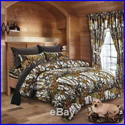 7 pc Camo Set Mixed Size and Color! White KING comforter with Black Queen sheets