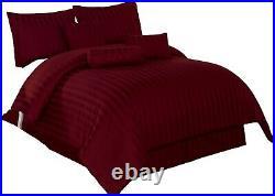 7pc Comforter Set Full Size Burgundy Damask Stripe Cotton 350 Thread Count Bed