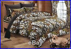 7pc Queen WHITE CAMO COMFORTER & SHEET SET BED IN A BAG HUNTER TREE WOODLAND