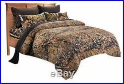 7pc Queen WOODLAND BROWN CAMO COMFORTER / Black SHEET SET BED BAG WOODS HUNT
