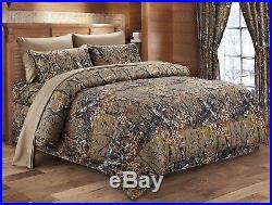 7pc Queen WOODLAND BROWN CAMO COMFORTER / SHEET SET BED IN A BAG WOODS HUNT