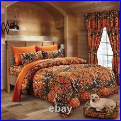7pc Queen WOODLAND ORANGE CAMO COMFORTER / SHEET SET BED IN A BAG WOODS HUNT