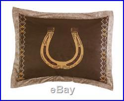 7pcs Southwestern Cabin Lodge Wild Horses Microsuede Brown Comforter Set, King