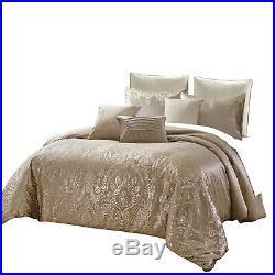 8Pcs Luxury Metallic Printed Velvet Comforter Set Bed In A Bag, Queen, Pandita