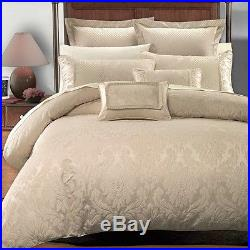8 PC Sara Jacquard Comforter Set 100% Luxury Beige By Royal Hotel Collection