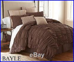 8 piece Comforter Set bedding Elegant Luxury Microfiber Brown QUEEN/KING size
