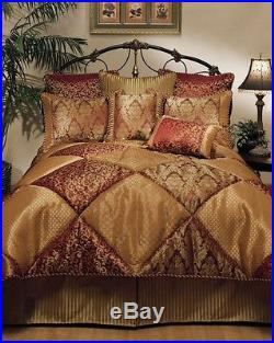 8pc Burgundy Red/Gold Pieced Textured Comforter Set Queen King Cal King