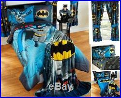 9pc Bat Signal BATMAN Full-Double COMFORTER+SHEET+CURTAINS SET Bed in a Bag Room