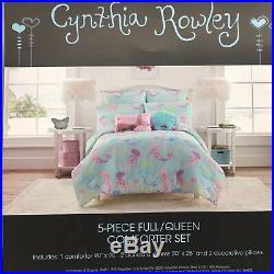 9pc Cynthia Rowley Mermaid FULL Comforter Pillows Sham Sheet Set Shell Sequins