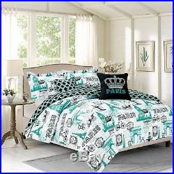 ALL SIZES Paris Bedding Comforter Set Eiffel Tower White Blue Bedroom