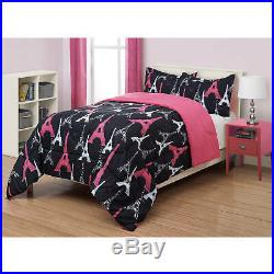 ALL SIZE Paris Comforter & Sham Set Eiffel Tower Black Pink Girls Bed Bedding
