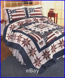 AMERICAN FLAG Full/Queen QUILT SET RED WHITE BLUE PATRIOTIC STAR COMFORTER