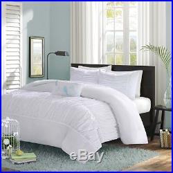 Beautiful Chic Soft Blue Teal Aqua Pinch Pleat Ruched Ruffled Comforter Set New