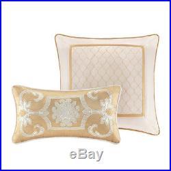 Beautiful Elegant Luxury 8 Pc Gold Beige Ivory Comforter Set Cal, King, Queen