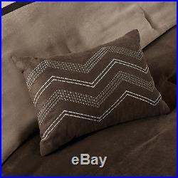 Beautiful Modern 7 Pc Brown Tan Taupe Stripe Soft Comforter Set King Or Queen