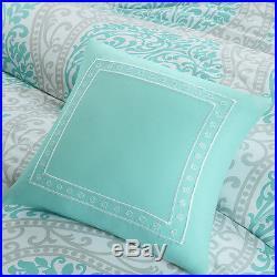 BEAUTIFUL MODERN CHIC AQUA TEAL LIGHT BLUE GREY COMFORTER SET FULL QUEEN Size
