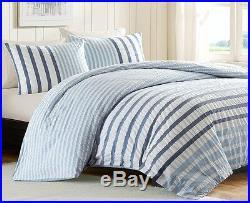 BLUE WHITE STRIPED Full / Queen COMFORTER SET SUTTON SEERSUCKER BEACH STRIPED