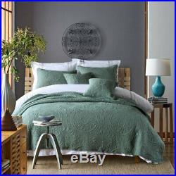 Baroque Green 100% Cotton Coverlet Bedspread Comforter Bedcover Set 3pcs Queen