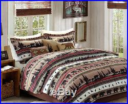 Bears, Mountains, Cabin, Lodge, Queen Comforter Set KO (8 Piece Bed In A Bag)