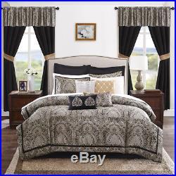 Beautiful 23pc Modern Rich Elegant Black White Gold Comforter Set & Curtains