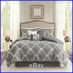 Beautiful 7 Pc Modern Chic Luxurious Elegant Black Grey Scroll Comforter Set