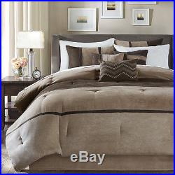 Beautiful 7 Pc Modern Chic Soft Brown Tan Taupe Stripe Comforter Set & Pillows