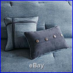 Beautiful 7 Pc Soft Cozy Lodge Log Cabin Button Denim Navy Blue Comforter Set