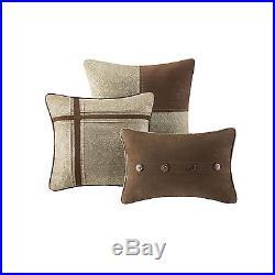 Beautiful 7 Pc Soft Modern Lodge Cabin Brown Stripe Taupe Beige Comforter Set