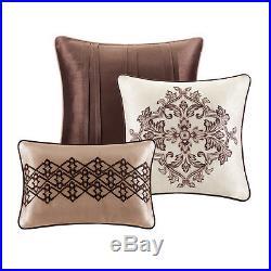 Beautiful 7pc Modern Blue Grey Red Brown Ivory White Stripe Comforter Set New