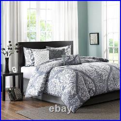 Beautiful 7pc Modern Elegant Grey White Chic Floral Ruffle Texture Comforter Set