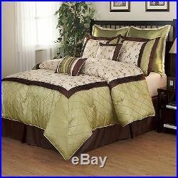 Beautiful 7pc Modern Elegant Luxurious Green Brown Texture Ruffled Comforter Set