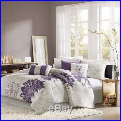 Beautiful 7pc Modern Grey White Purple Plum Chic Floral Comforter Set & Pillows