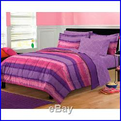 Beautiful 7pc Purple Pink Stripe Soft Girl Comforter Set & Sheets Full