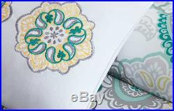 Beautiful Blue Aqua Teal White Yellow Beach Paisley Tropical Chic Comforter Set