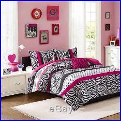 Beautiful Blue Teal Aqua Pink Black Leopard Polka Dot Teen Girl Comforter Set