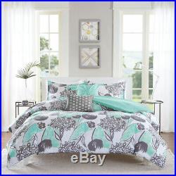 Beautiful Chic Aqua Blue Grey White Beach Modern Soft Comforter Set Full Queen