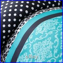 Beautiful Chic Blue Teal Aqua Black Zebra Leopard Polka Dot Girl Comforter Set