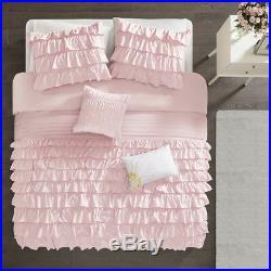 Beautiful Chic Cozy Ultra Soft Pink White Ruffle Girls Comforter Set Full Queen