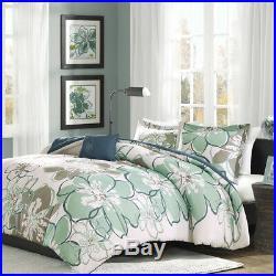 Beautiful Chic Floral Modern Blue Teal Aqua White Soft Comforter Set Full Queen