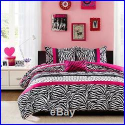 Beautiful Chic Hot Pink Black Polka Dot Girl Zebra Comforter Set Full Queen New