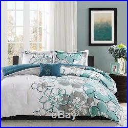 Beautiful Chic Modern Blue Grey Seafoam Aqua Teal White Flower Comforter Set New