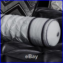 Beautiful Chic Modern Elegant Black Grey Ruched Ruffled Pintuck Comforter Set