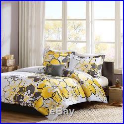 Beautiful Chic Modern Yellow Black Grey White Bright Flower Soft Comforter Set