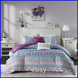 Beautiful Chic Purple Blue Aqua Teal Turguoise Bohemian Tropical Comforter Set