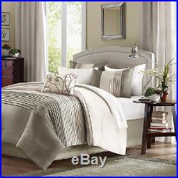 Beautiful Classic Modern Beige Ivory Taupe Tan Ruffle Texture Comforter Set New