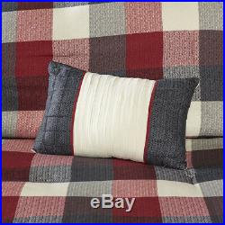 Beautiful Cozy Classic Modern Grey White Red Plaid Lodge Cabin Comforter Set