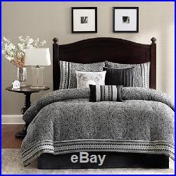 Beautiful Elegant Chic Contemporary Black White Grey Stripe Scroll Comforter Set