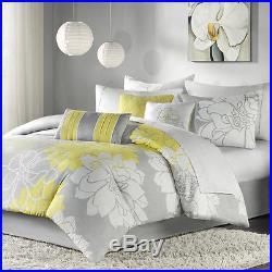 Beautiful Elegant Grey Gray Yellow Black Modern Comforter Set- Cal, King Queen
